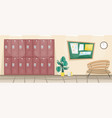school corridor with lockers for books vector image vector image