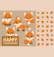 seamless pattern of fox and acorn vector image vector image