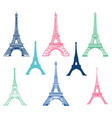 set of different eiffel tower landmarks vector image vector image