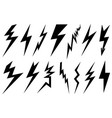 set of different lightning bolts vector image