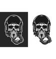 skull in combat pilot helmet vector image vector image