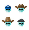 skulls in hats flat graphic icon set vector image