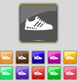 Sneakers icon sign Set with eleven colored buttons vector image vector image