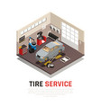 tire service isometric composition vector image