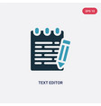 two color text editor icon from technology vector image
