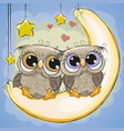 two cute owls is sitting on the moon vector image vector image