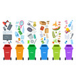 waste bins flat recycling containers bin sorting vector image