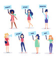 woman protest placard stop strike set vector image vector image