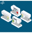 Set modern electronic sewing machines in isometric vector image