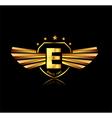 Letter E winged crests logo Alphabet logotype vector image