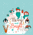 set of cute cartoon christmas characters vector image