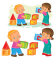 a little girl and boy vector image