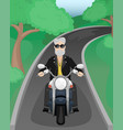 a man with gray hair and a beard on a motorcycle vector image vector image