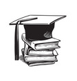 academic graduation cap on stack books vector image