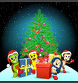 animals christmas tree holiday presents vector image vector image