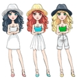 beautiful fashion girl in hat vector image vector image