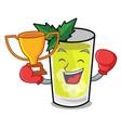 boxing winner mint julep mascot cartoon vector image