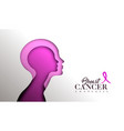 breast cancer awareness paper cut woman face vector image vector image