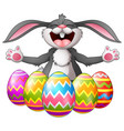 cartoon rabbit laughing with five decorated easter vector image vector image