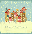 Christmas card - snow and small town vector image vector image