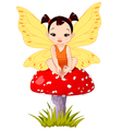 Cute Asian Baby Fairy On Mushroom vector image vector image