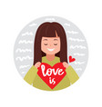 cute girl with valentine heart vector image vector image