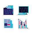 data center service with set icons vector image