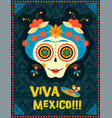day of the dead poster of mexican skull woman vector image vector image