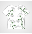 Design t-shirt with chamomiles vector image