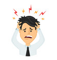flat man businessman with a headache vector image vector image
