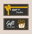 gift voucher card with ribbon yellow vector image vector image