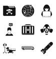 Gunman icons set simple style