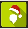 Hat and long beard of Santa Claus icon flat style vector image