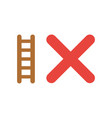 icon concept of ladder with x mark vector image