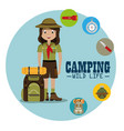 lady scout with camping equipment vector image