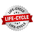 Life-cycle round isolated silver badge