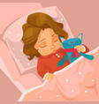 little smiling baby girl character sleeping vector image