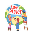 love planet concept cute boys and girls taking vector image
