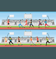 marathon runner men and women on running race vector image