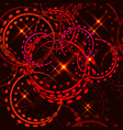 metallic stars and rings in red hues on a gold vector image vector image