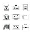 monochrome silhouette with business portfolio vector image vector image