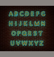 neon alphabet type font isolated on brick vector image vector image