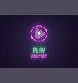 neon icon set play non stop button sign vector image vector image