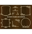Old Rope Frames and Corners on Brown Background vector image