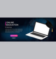 online education composition with laptop vector image vector image