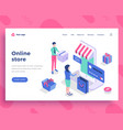 online store concept people interact with mobile vector image