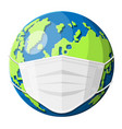 planet earth with medical mask vector image