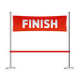 realistic 3d detailed red ribbon in finishing line vector image vector image