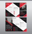 Red black triangle business trifold leaflet vector image