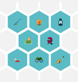 set of camp icons flat style symbols with clash vector image